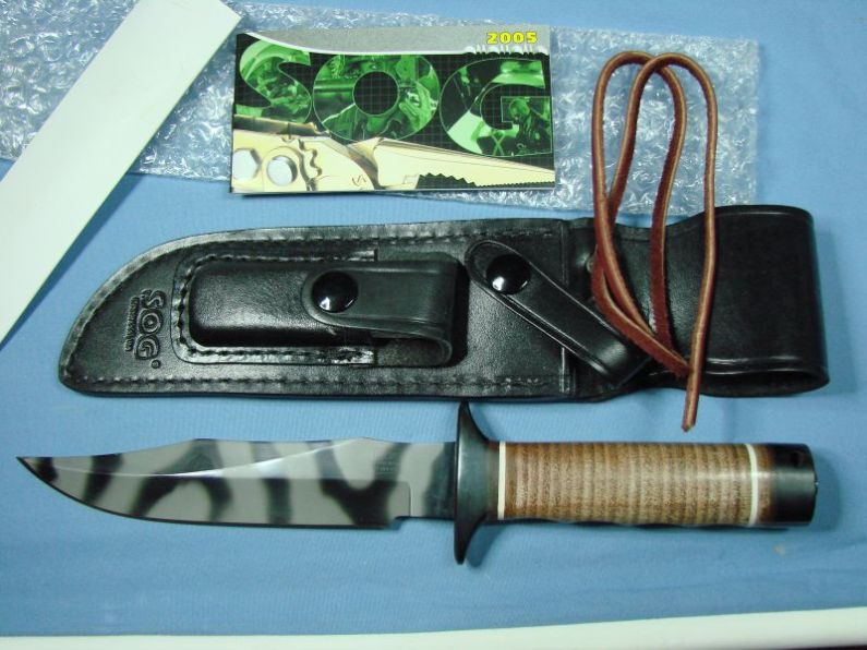 "What's in the box with the SOG S1 Bowie Tigerstriped (Photo:""70chevelless"" - bladeforums)"