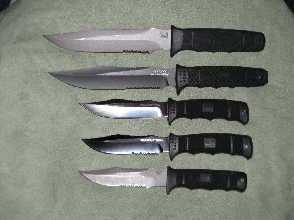 "The ""Seal"" family from SOG. (Photo:""LeftytwoGuns"" - bladeforums)"
