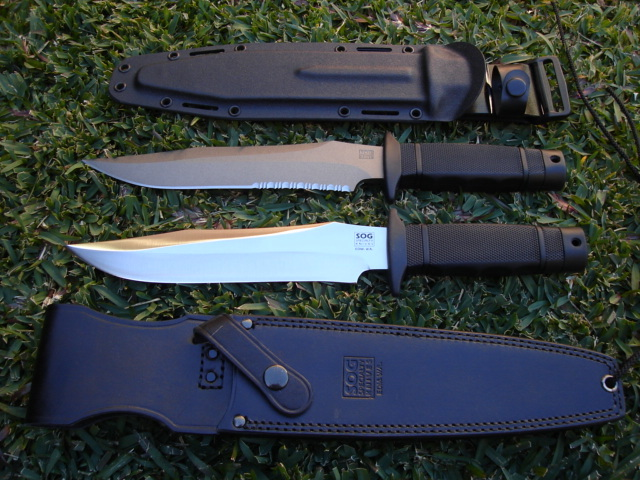 "Old vs new SOG Tigersharks (Photo: ""Argus1"" - bladeforums)"